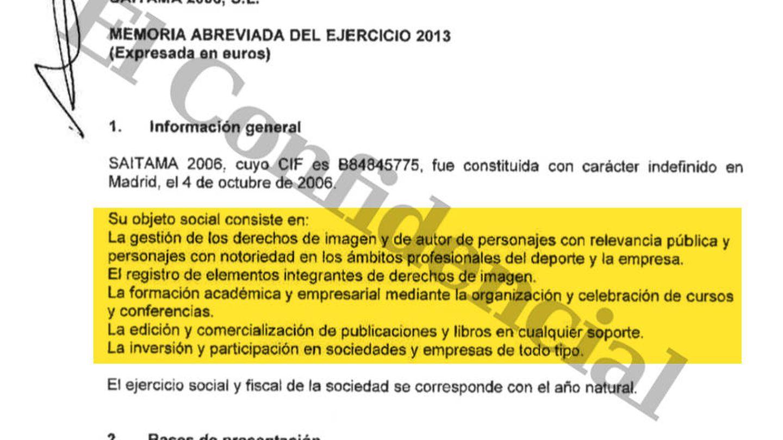 Extracto de las cuentas presentadas en 2013