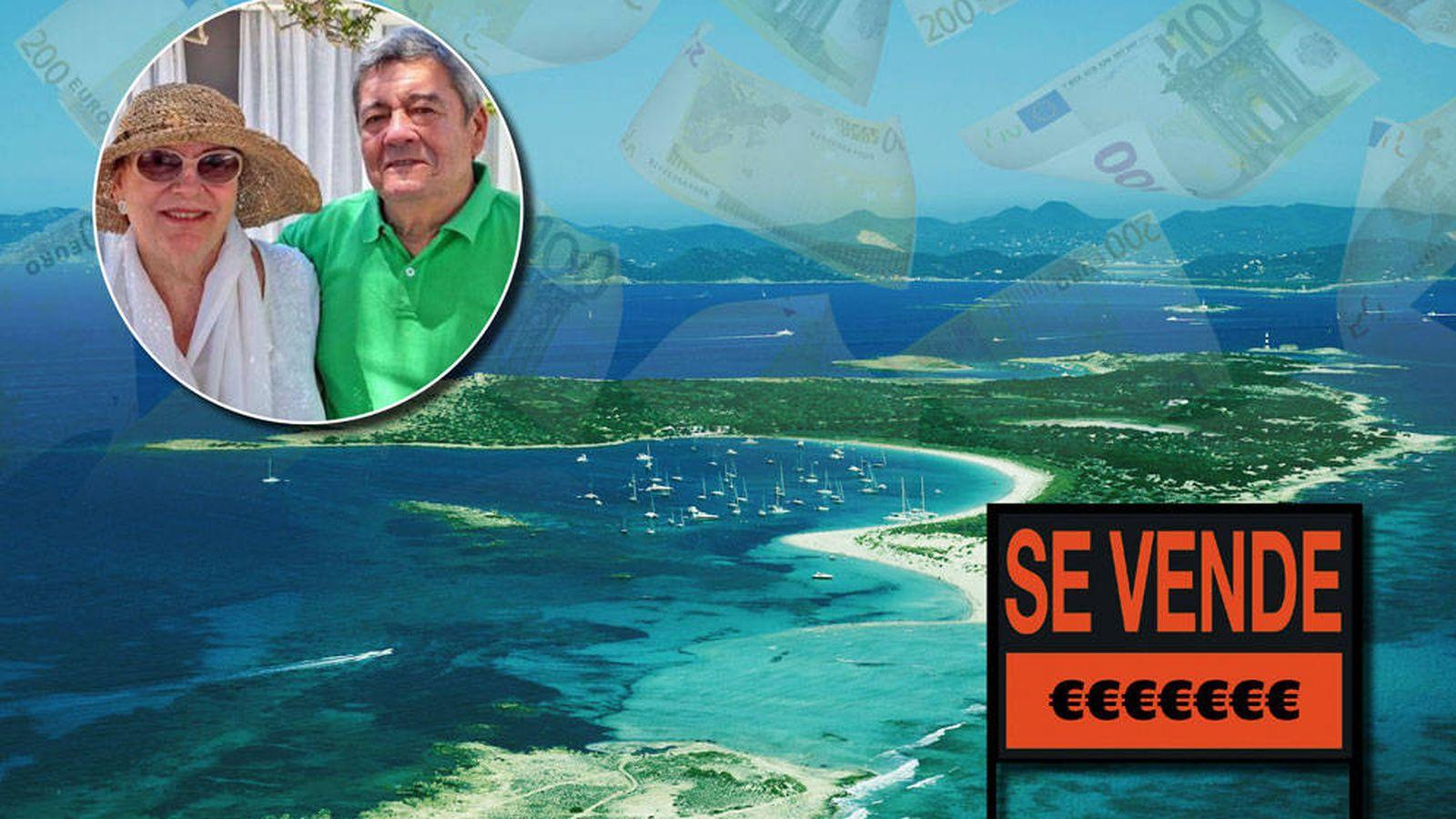 Foto: La isla de Espalmador y su propietario, Norman Cinnamond (fotomontaje realizado por Vanitatis)