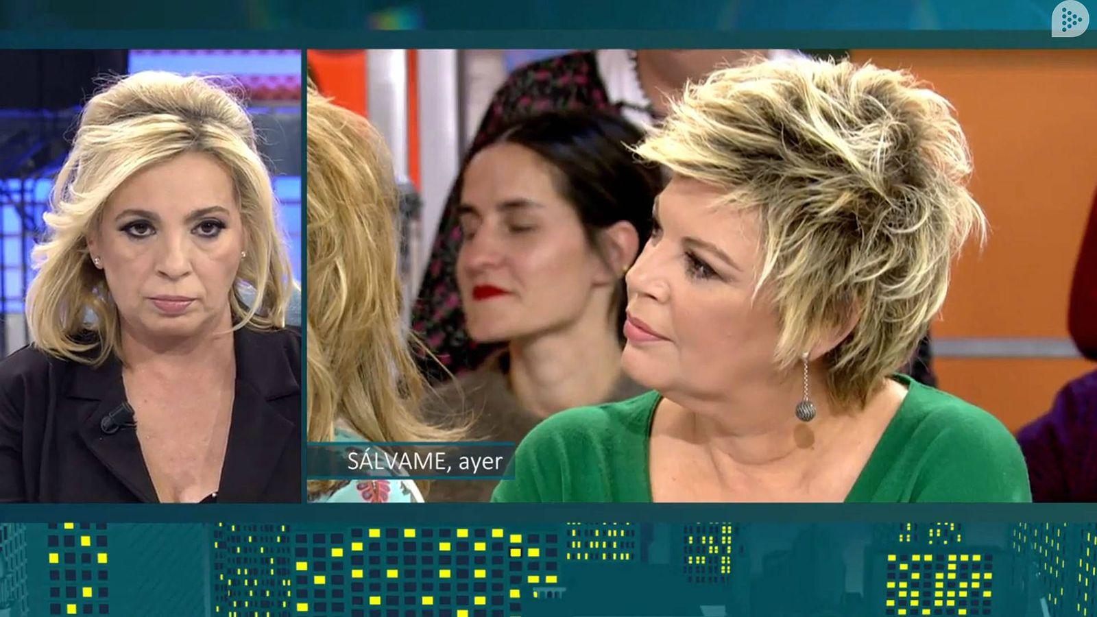 Foto: Carmen Borrego ve la reacción de su hermana. (Mediaset España)