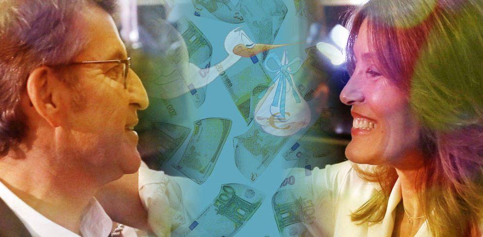 Foto: Feijóo con la madre de su hijo, Eva Cárdenas, en un fotomontaje de Vanitatis