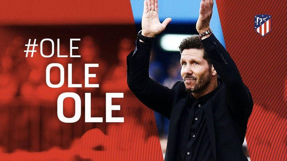 Foto: Anuncio del Atlético de Madrid de la renovación de Diego Pablo Simeone.