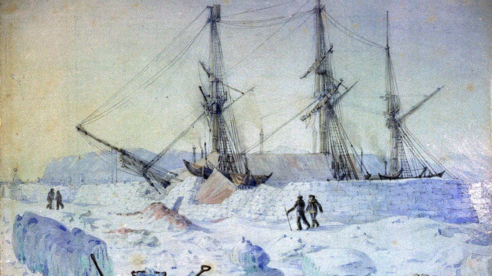 Foto: El barco HMS Terror atrapado en el hielo. (Wikimedia Commons)