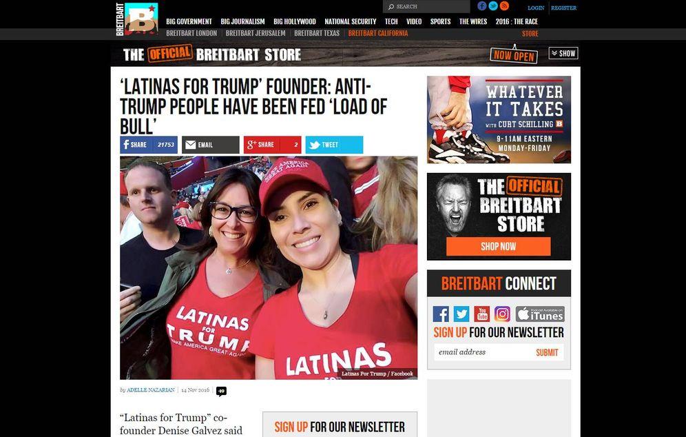 Foto: Una de las historias de 'Breitbart', sobre las latinas por Trump.