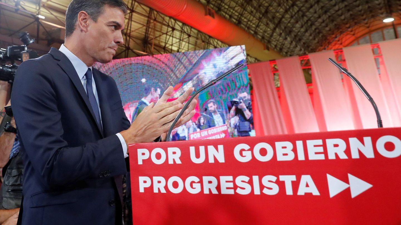 Pedro Sánchez, durante la presentación del 'Programa común progresista', este 3 de septiembre en el espacio MEEU de la estación de Chamartín, en Madrid. (EFE)