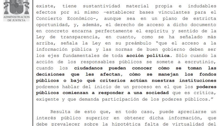 Parte del fallo sobre la publicidad del acuerdo firmado en 2017 entre PP y PNV sobre el Cupo Vasco.