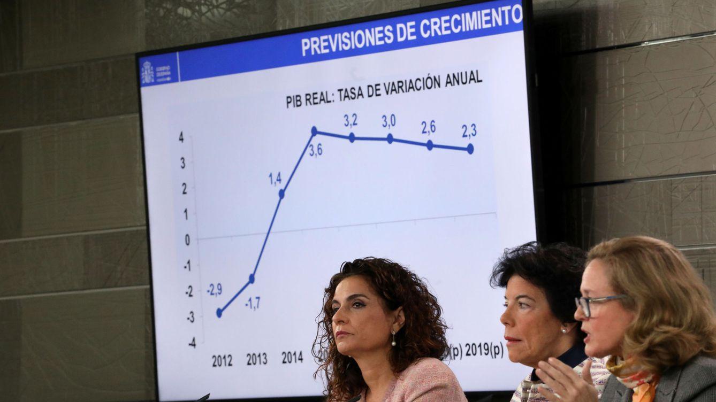 Foto: Las ministras Montero, Celaá y Calviño, durante la presentación del Plan Presupuestario. (Reuters)