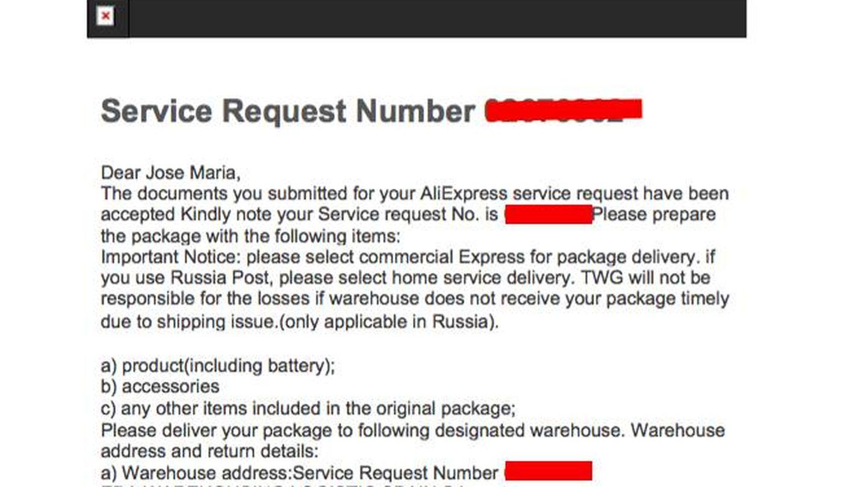 Otro de los mensajes enviados por el Warranty Group.
