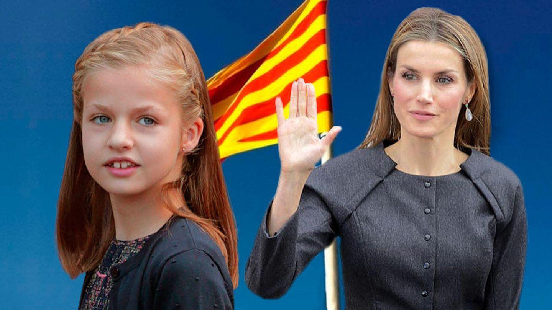 La infanta Leonor y su madre, la Reina Letizia, con la bandera catalana (fotomontaje Vanitatis)