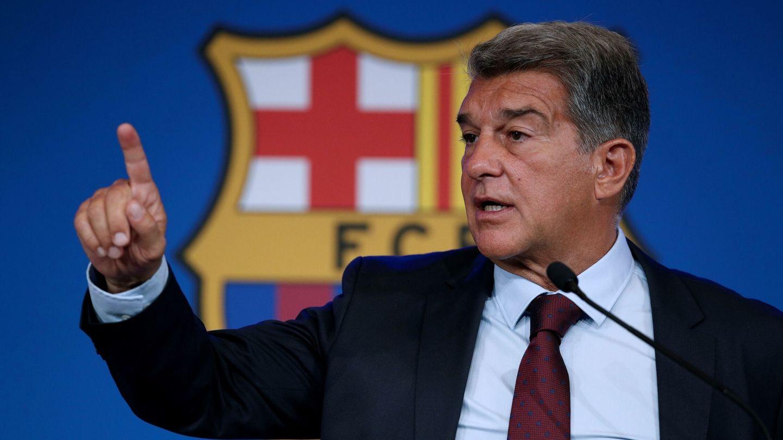 Laporta explica los motivos de la marcha de Messi en rueda de prensa. (EFE)