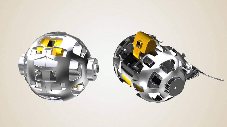 El 'rover' pasa de ser una esfera a un cilindro cuando se activa (JAXA)