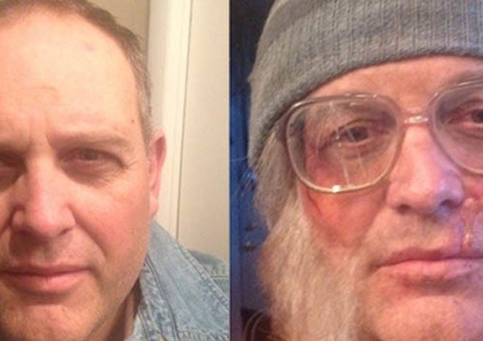 Foto: El obispo, antes y después de ser sometido a la sesión de maquillaje. (David Musselman/Tara Starling)