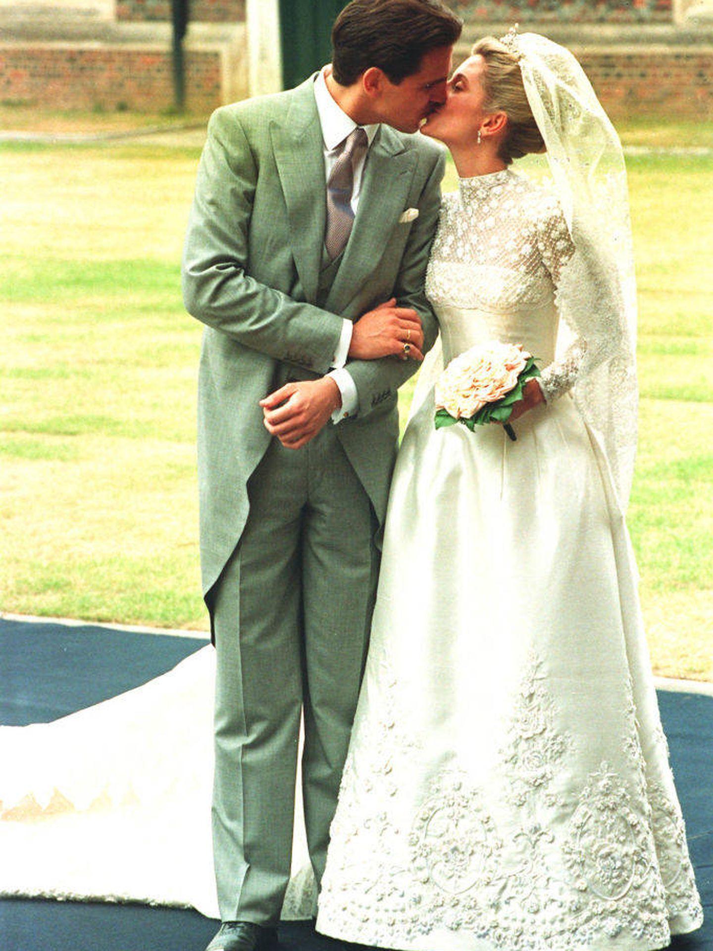 Marie-Chantal Miller y Pablo de Grecia, el día de su boda. (Getty)