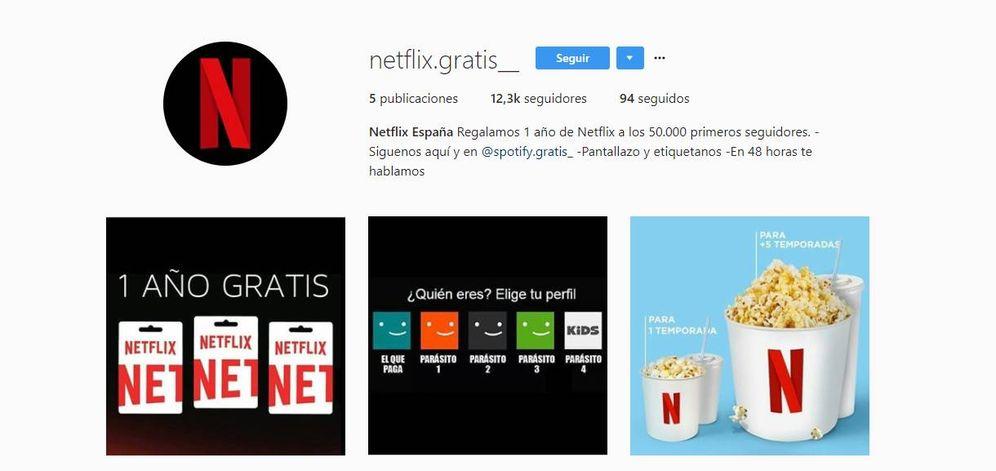 Foto:  Una de las cuentas falsas de Netflix