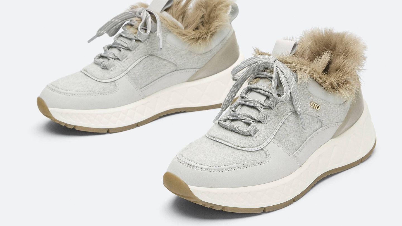 Zapatillas deportivas de pelo de Uterqüe. (Cortesía)