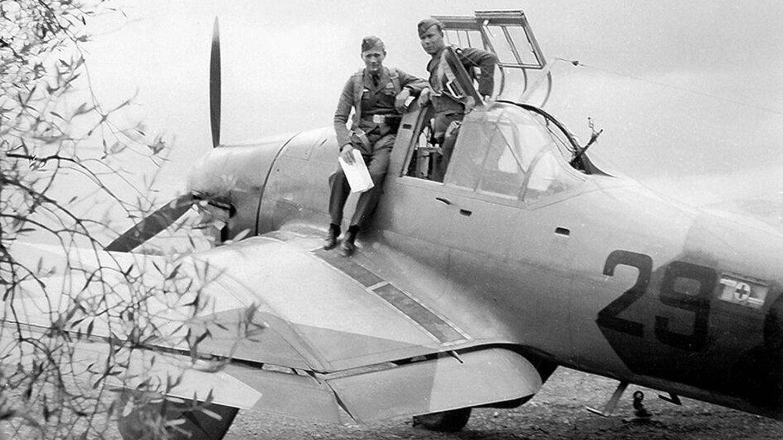 Uno de los tres Junkers 87-A 'Stuka' utilizados en el experimento.