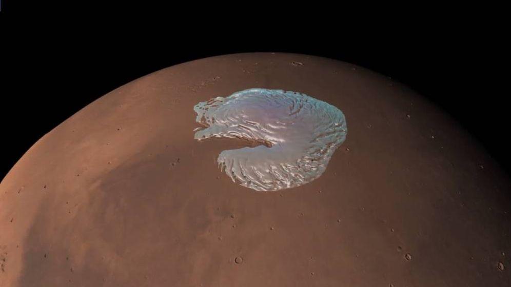 Foto: Caltech podría haber resuelto el misterio del polo de Marte: un milenario depósito de CO2. (ESA)