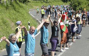 Cadena humana entre Durango y Pamplona por el derecho a decidir