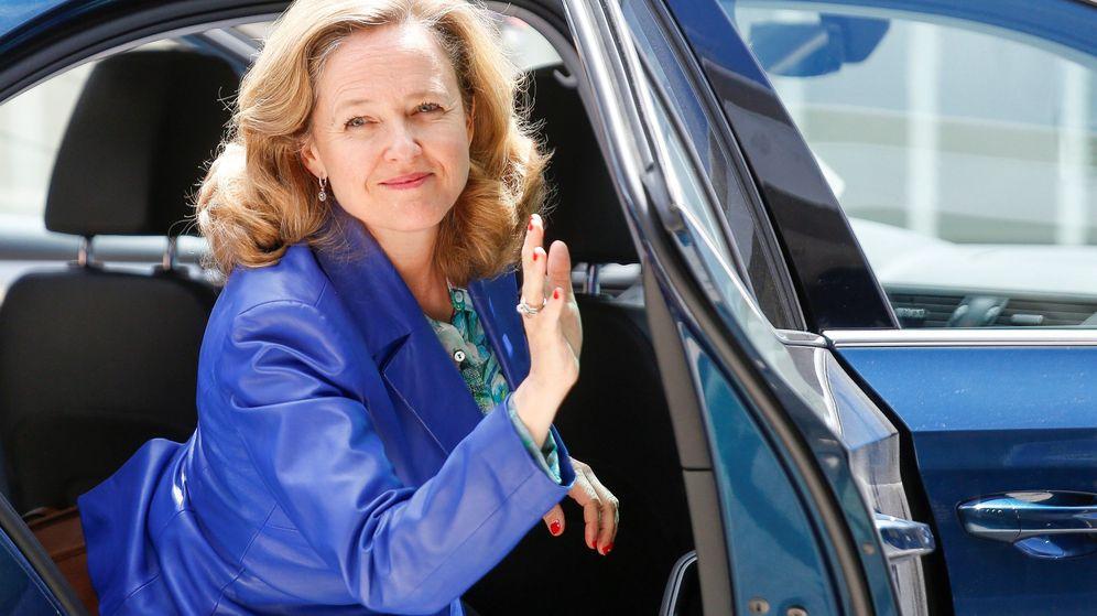 Foto: Nadia Calviño, a su llegada al Eurogrupo. (EFE)