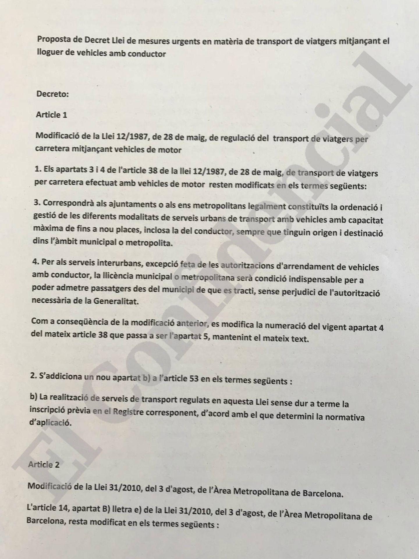 El decreto de la Generalitat para regular las VTC.
