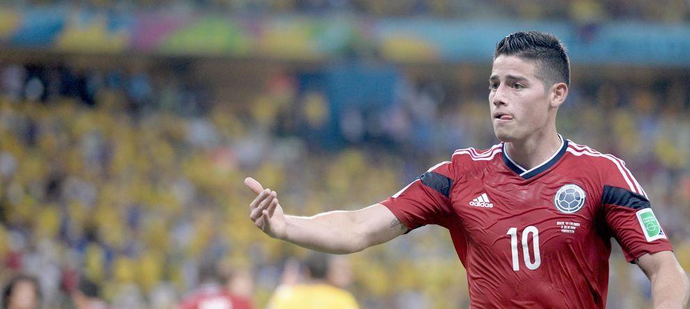 Foto: James Rodríguez celebra el gol conseguido ante Brasil en los cuartos de final del Mundial.