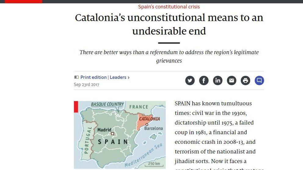 'The Economist': Puigdemont debería dar un paso atrás en su referéndum