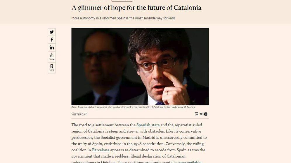 Foto: Imagen del editorial publicado por el 'Financial Times' sobre la crisis en Cataluña.