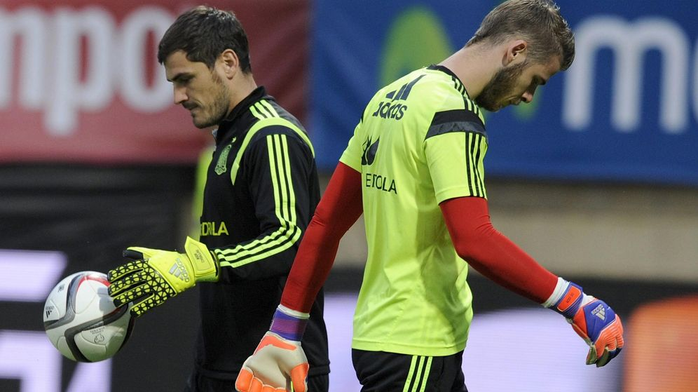 Foto: Casillas y De Gea en un entrenamiento con la Selección.