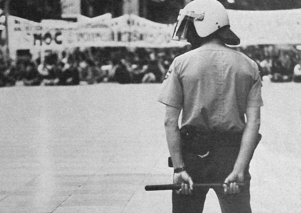 Foto: Manifestación del Movimiento de Objeción de Conciencia en Las Ramblas, Barcelona.
