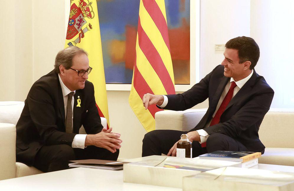 Foto: Pedro Sánchez y Quim Torra, durante su reunión en la Moncloa el 9 de julio de 2018. (Moncloa)