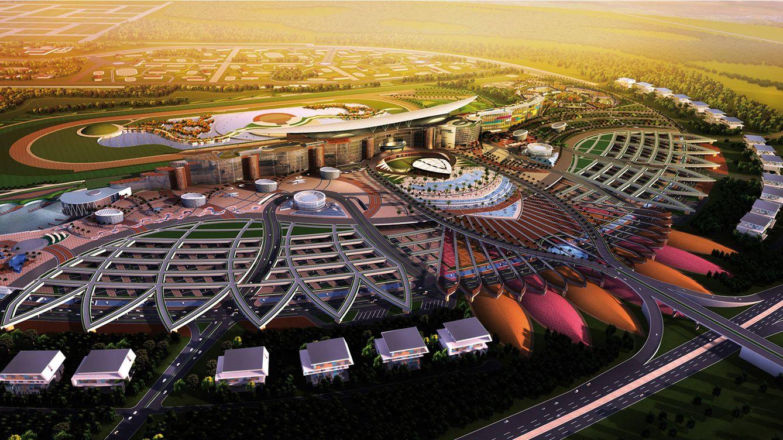 Foto: Meydan, el núcleo del complejo inmobiliario Meydan City de Dubai, compuesto por diferentes torres construidas alrededor del gigantesco hipódromo.