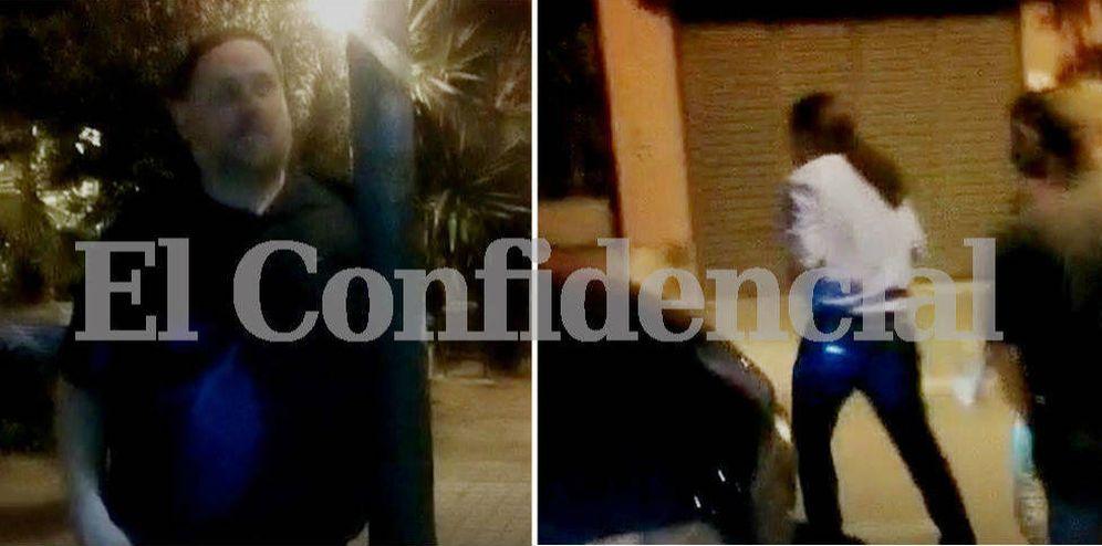 Foto: Oriol Junqueras y Pablo Iglesias llegan por separado a la casa de Jaume Roures en Barcelona. (El Confidencial)