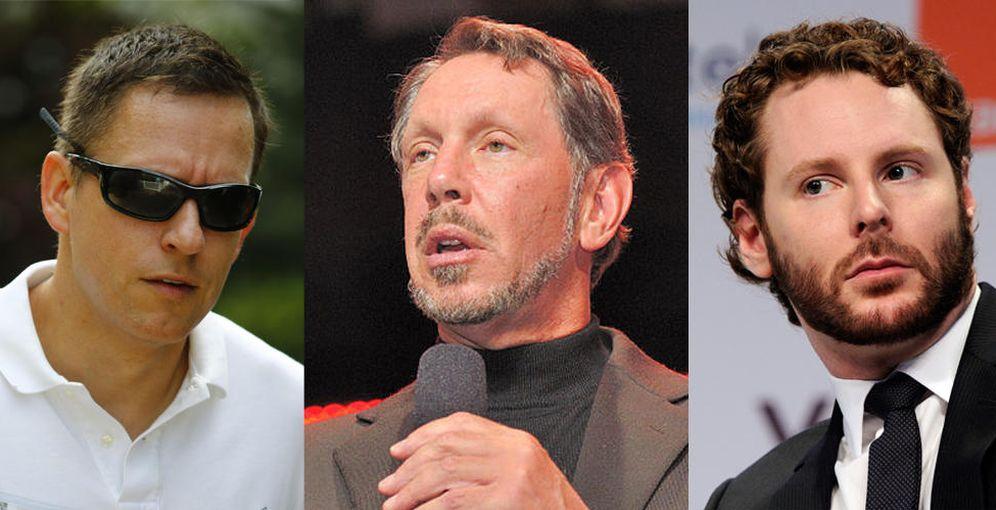 Foto: De izquierda a derecha: Peter Thiel, Larry Ellison y Sean Parker. (Efe/Reuters)