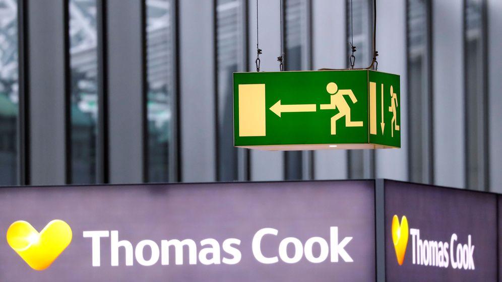 Foto: Logo de Thomas Cook en el aeropuerto de Fráncfort, en Alemania (Reuters)