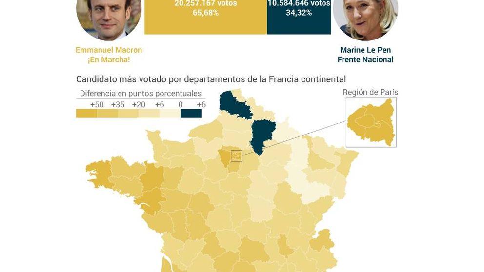 Mapa de resultados de las elecciones en Francia: Macron, el más apoyado en París