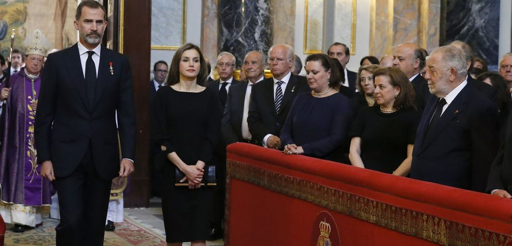 Foto: La Reina Letizia durante el funeral de la infanta Alicia. (EFE)