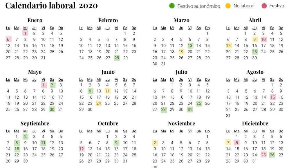 Foto: Calendario laboral para 2020 a nivel estatal (El Confidencial)