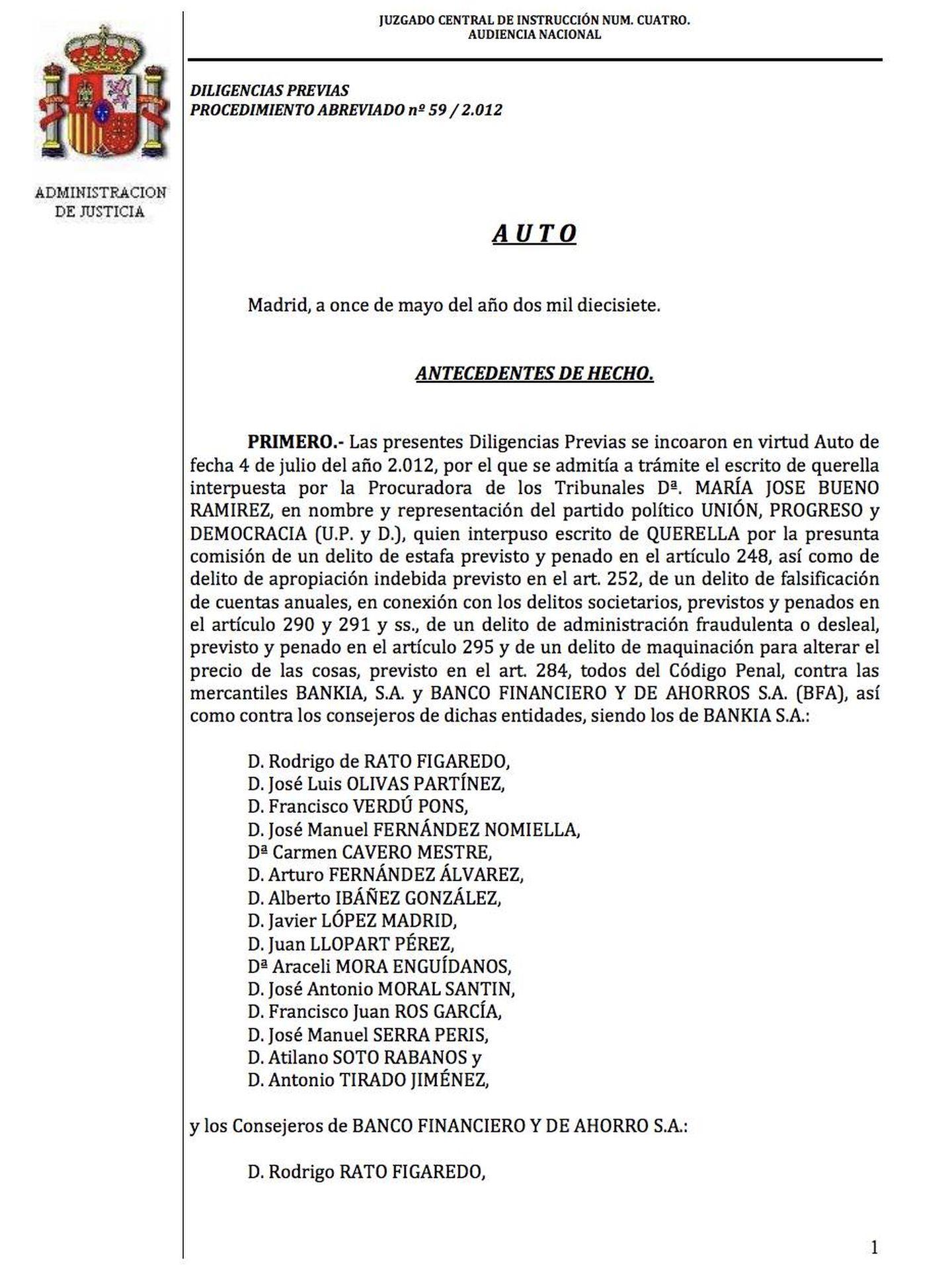 Pinche en la imagen para leer el auto del magistrado Fernando Andreu sobre la salida a bolsa de Bankia
