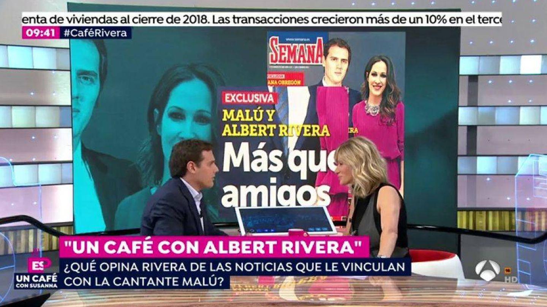 Albert Rivera durante la entrevista con Susanna Griso. (Atresmedia)