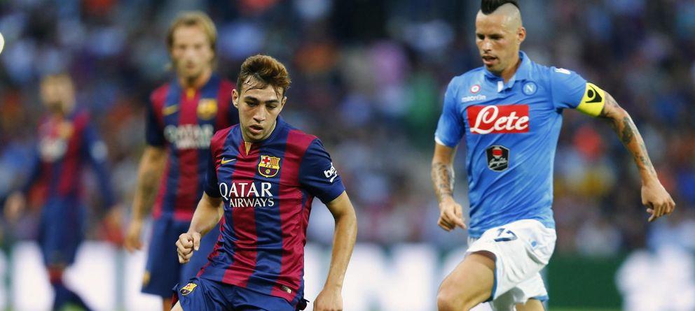 Foto: Munir, durante el amistoso que disputaron Barcelona y Nápoles (Reuters)