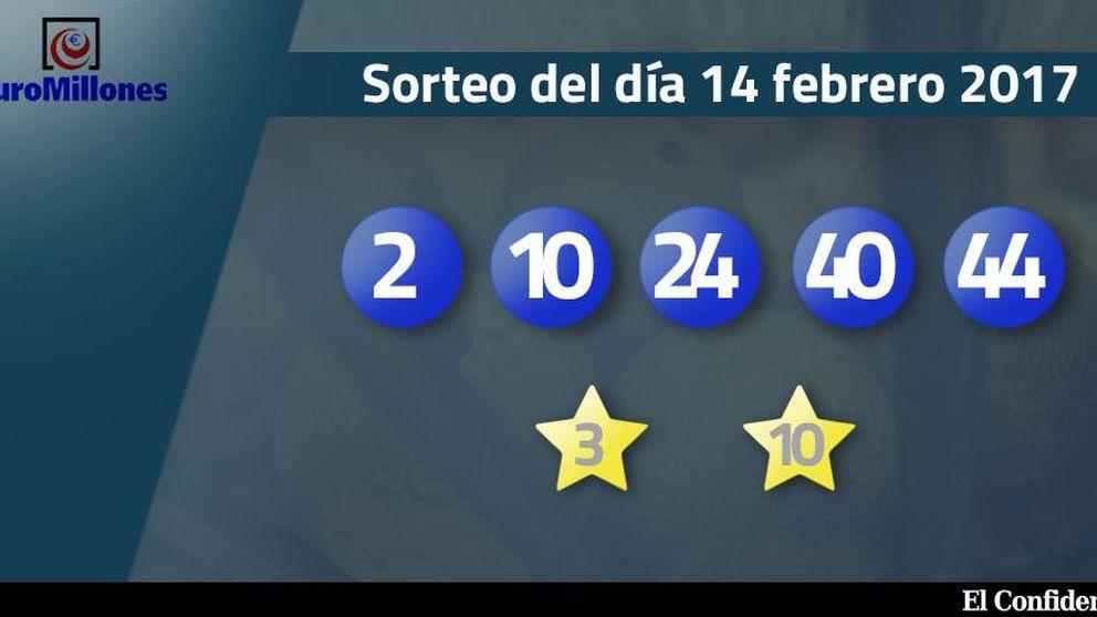 Resultados del sorteo del Euromillones del 14 de febrero de 2017
