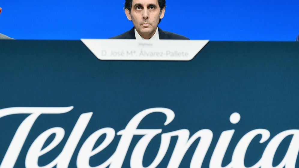 Foto: El presidente de Telefónica, José María Álvarez-Pallete, durante una junta de accionistas. (EFE)