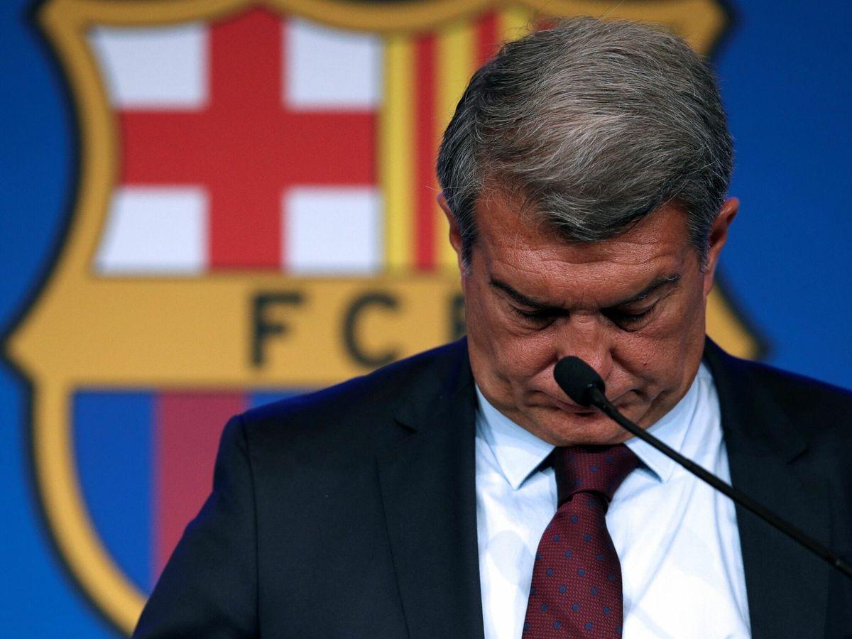 Foto: Joan Laporta da explicaciones sobre el adiós de Messi. (EFE)