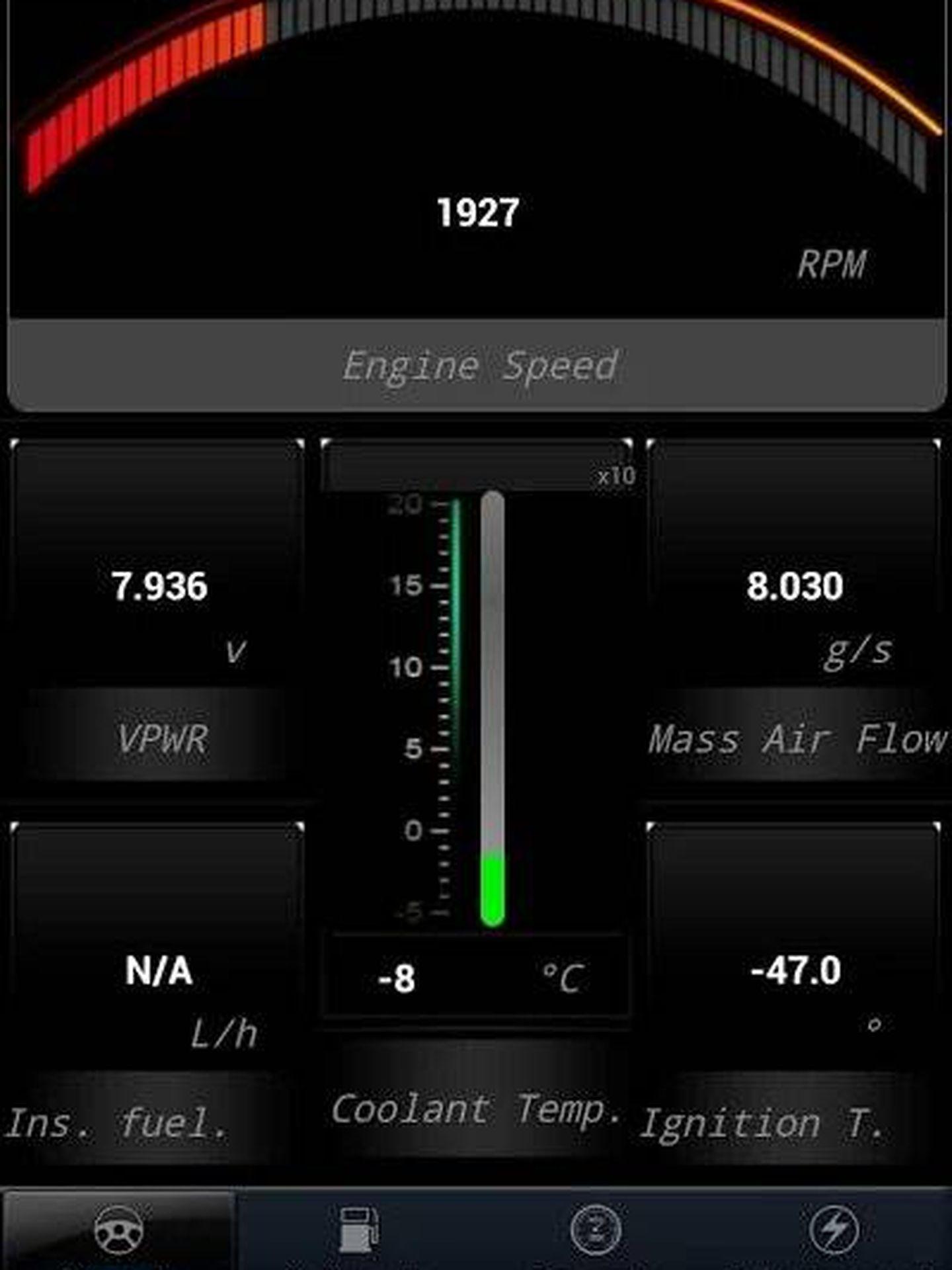 Interfaz de iOBD2 (Play Store)
