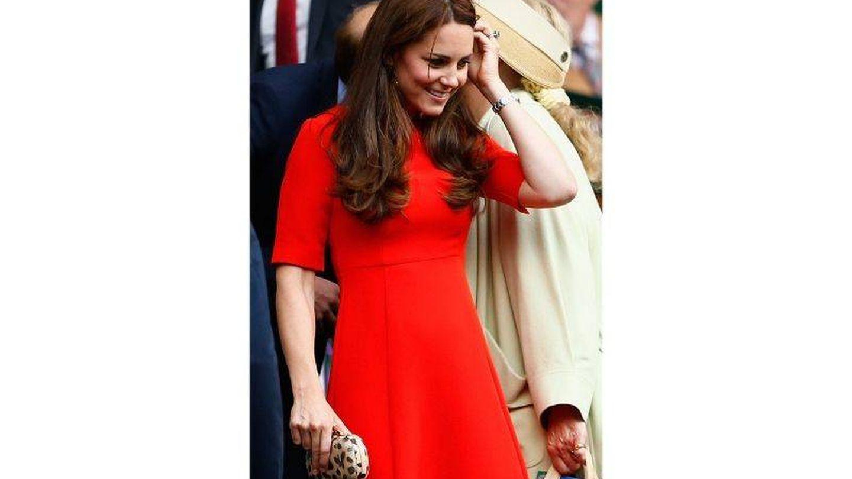 Kate Middleton con el vestido que llevó el noveno día de Wimbledon 2015. (Getty)