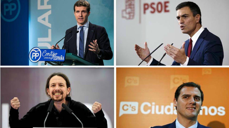 Los líderes de los cuatro grandes partidos: Pablo Casado (PP), Pedro Sánchez (PSOE), Pablo Iglesias (Podemos) y Albert Rivera (Cs). (Montaje: EC)