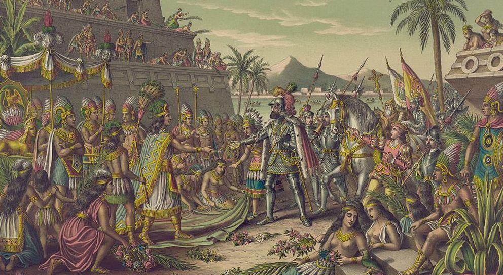 Foto: Encuentro de Hernán Cortés y Moctezuma. (Kurz & Allison)