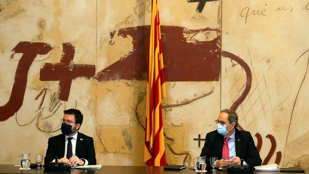Foto: El presidente de la Generalitat, Quim Torra, junto al vicepresidente, Pere Aragonès. (EFE)