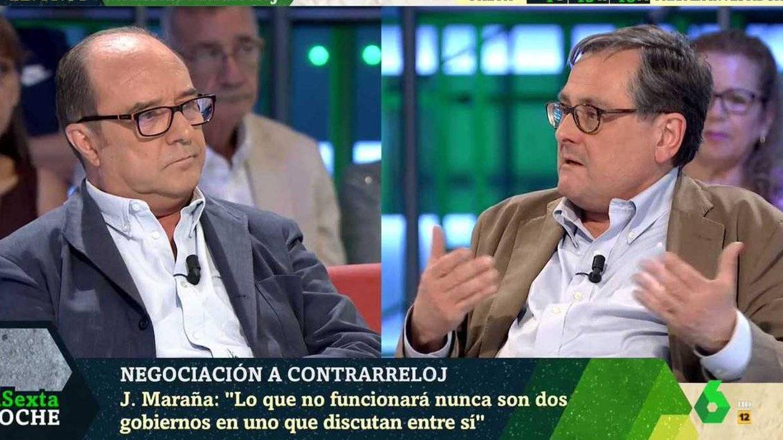 Maraña y Marhuenda discuten en el plató de 'La Sexta noche'. (Atresmedia).