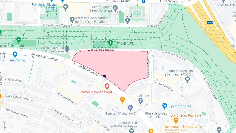 La ubicación del solar, en pleno barrio de Hortaleza (Google Maps)