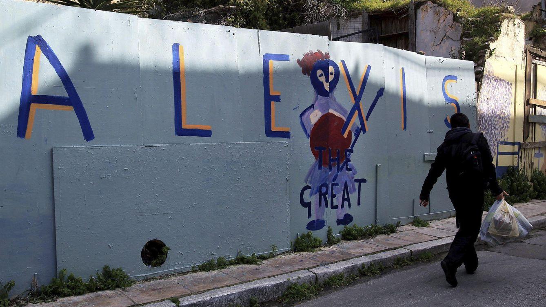 Foto: Pintada de apoyo a Tsipras en Atenas (EFE)